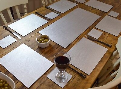 ARTISAN SILVER Bonded Leather 6 PLACEMATS, 6 COASTERS & TABLE RUNNER DINING SET