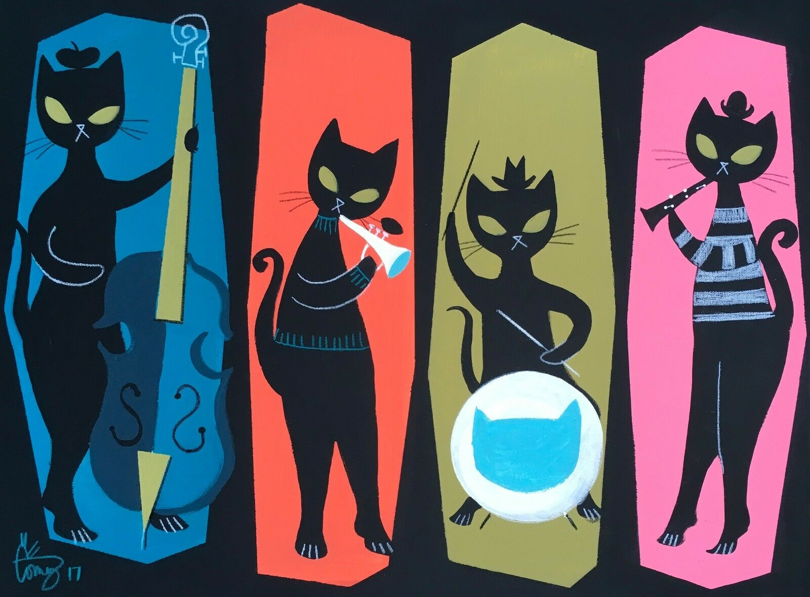 EL GATO GOMEZ RETRO VINTAGE MID CENTURY MODERN EAMES BEATNIK JAZZ BLACK CAT 50'S