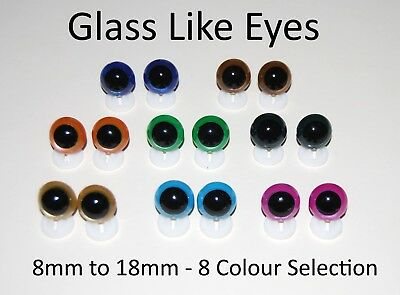 GLASS LIKE EYES - PLASTIC BACKS Teddy Bear Making Soft Toy Doll Animal Craft  - 1
