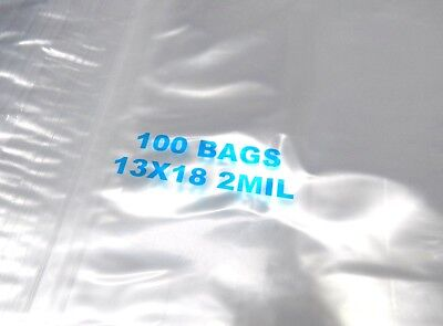 13x18 Ziplock Bags Clear 2 Mil Poly Reclosable Large Jumbo Size 13x18 100 Pcs