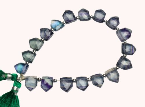 """Natural Gem Rainbow Fluorite 11x9mm Approx. Size Faceted Briolette Beads 8.5"""""""
