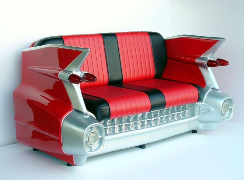 Red Car Sofa - 59 Cadillac Car Sofa - Cadi Car Couch - Car Loveseat