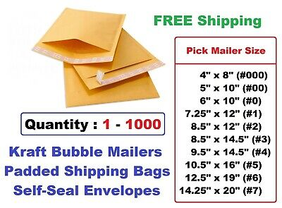 Selfseal Bubble Pack Mailer Padded Envelopes 0 1 2 3 4 5 6 7 00 000 - Free Ship