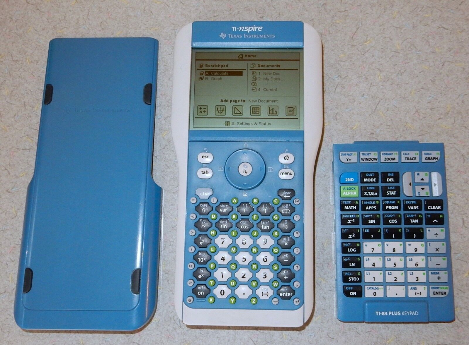 Texas Instruments TI-Nspire Graphing Calculator with 2 Different Keypads