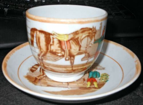 c1860 Horse and Jockey, Cup and Saucer English Lustre, Transfer Ware