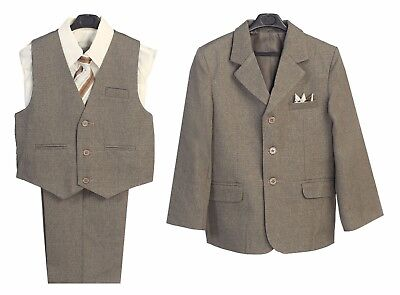 Dark Parties (Boys Suits Toddler Kids Dark Taupe Formal Party 5 Ps set Jacket Shirt Pants)