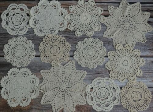 12 Crochet Doilies Lot French Country Rustic Wedding DIY Table Runners Coasters
