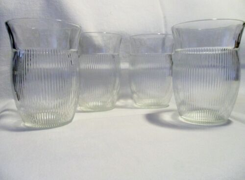 Vintage Depression 8oz Homespun Crystal Water Glasses x 4 in Excellent Condition