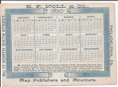 1890 Folding Pocket Calendar, E.P. Noll & Co., Map Publishers, Philadelphia
