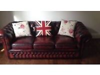 Chesterfield 3 seater leather sofa vgc.
