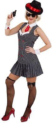 Ladies 1920s Gangster Moll Mafia Boss TV Book Film Fancy Dress Costume Outfit - 1920 Female Gangster