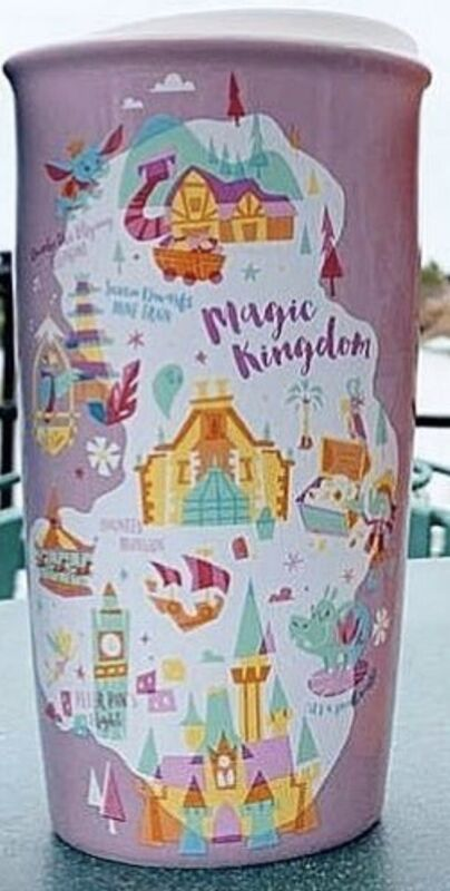 Disney Parks 2020 Pink Magic Kingdom Starbucks Ceramic Tumbler Christmas Holiday