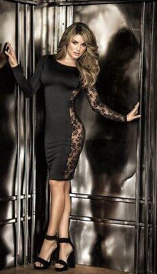 Mapale Black Long Sleeve Midi Dress w/ Lace Side Panel Clubwear 4458 Side Panel Dress