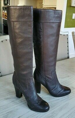 Michael Kors Perforated Leather Dark Brown Leather Pull on Tall Boots size (Michael Kors Dark Brown Boots)