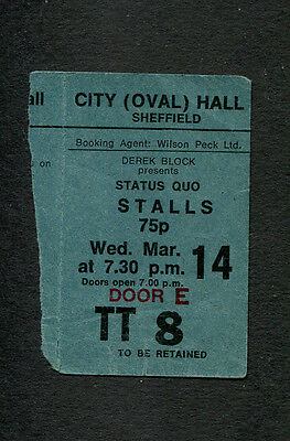 1973 Status Quo concert ticket stub Sheffield UK Matchstick Men