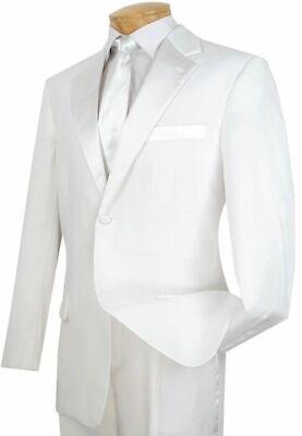 LUCCI Men's White Classic Fit Formal Tuxedo Suit w/ Sateen Lapel & Trim (Classic Notch Tuxedo)