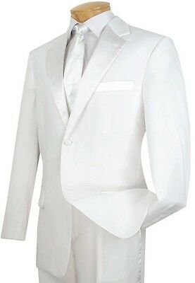Men's White Classic Fit Formal Tuxedo Suit w/ Sateen Lapel & Trim NEW Wedding