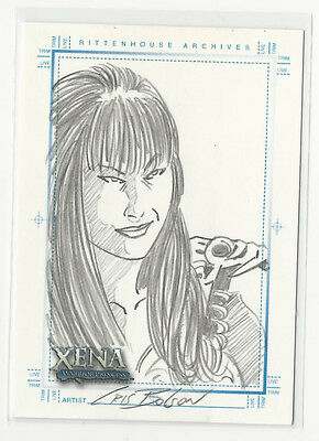 Lucy Lawless Xena Art   Images Hand Drawn Sketch Card Sketchafex By Cris Bolson
