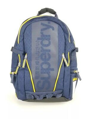 Superdry Backpack Diamond Tarp Dark Navy Mens New. Yellow Accents