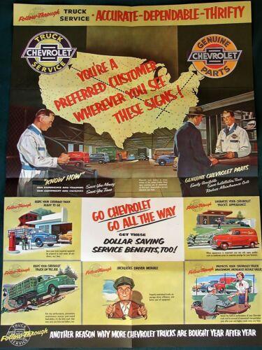 CHEVROLET Truck Service orig 1952 promotional poster