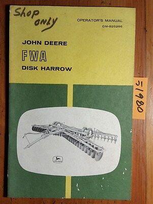 John Deere Fwa Disk Harrow Owners Operators Manual Om-b25286 A6 166