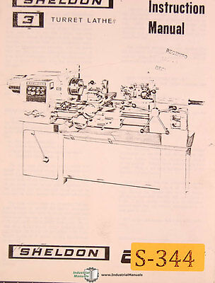 Sheldon 3 Turret Lathe Instructions Manual Year 1966