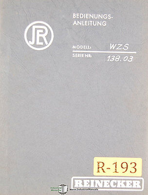 Reinecker Wzs Universal Tool Grinder Operations And Parts Manual 1953
