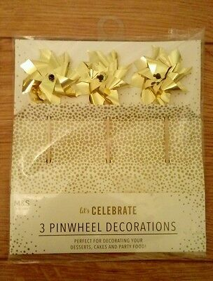 New Marks and Spencer Party/Cake Decorations Gold Pinwheels
