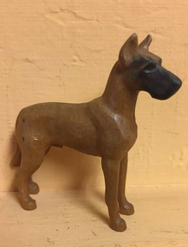 "VINTAGE ANTIQUE MINIATURE CARVED WOOD GREAT DANE NICE DETAIL 2 1/2"" x 2 1/4"""
