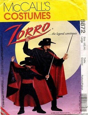 Zorro Kostüme Muster (Mccall's Herren Zorro Kostüm Muster 8872 GRÖSSE L Uncut)