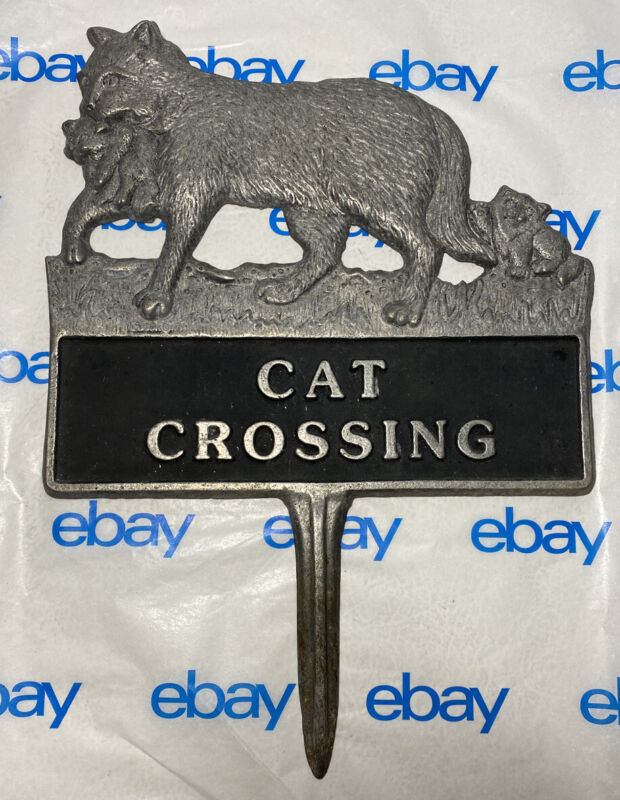 Vintage Cast Aluminum yard stake style Sign Cat Crossing