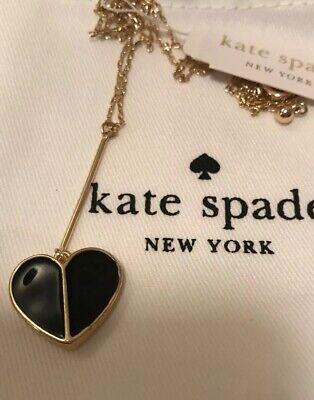 Kate Spade New York Women's Linear Factory Black Heart Pendant Heart Necklace