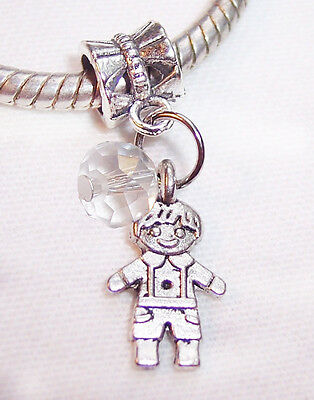 April Birthstone Little Boy Clear Crystal Son Grandson Charm for Euro Bracelets