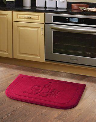 Red Wine Memory Foam Anti Fatigue Kitchen Floor Mat Rug Victoria Classics