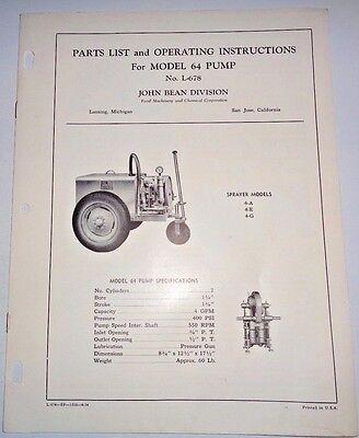 John Bean 64 Pump Operating Instructions Parts Catalog Manual Book Original