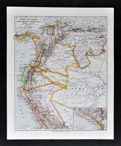 1900 Meyers Map South America Brazil Colombia Peru Bolivia Venezuela Ecuador SA