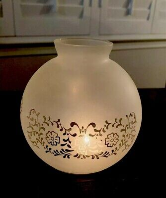 Vintage Frosted Etched Glass Globe/ball For Oil Lamp, Flower Design