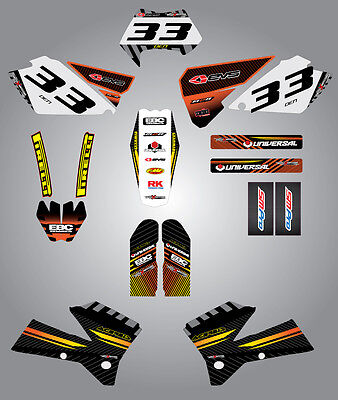 Custom graphics for KTM EXC Series 2004 FACTORY STYLE full sticker kit 2004 Series Graphic Kit
