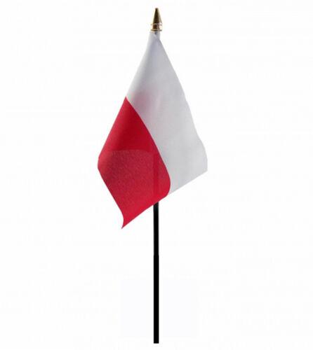 "POLAND SMALL HAND WAVING FLAG 6"" X 4"" WITH POLE POLISH WARSAW"