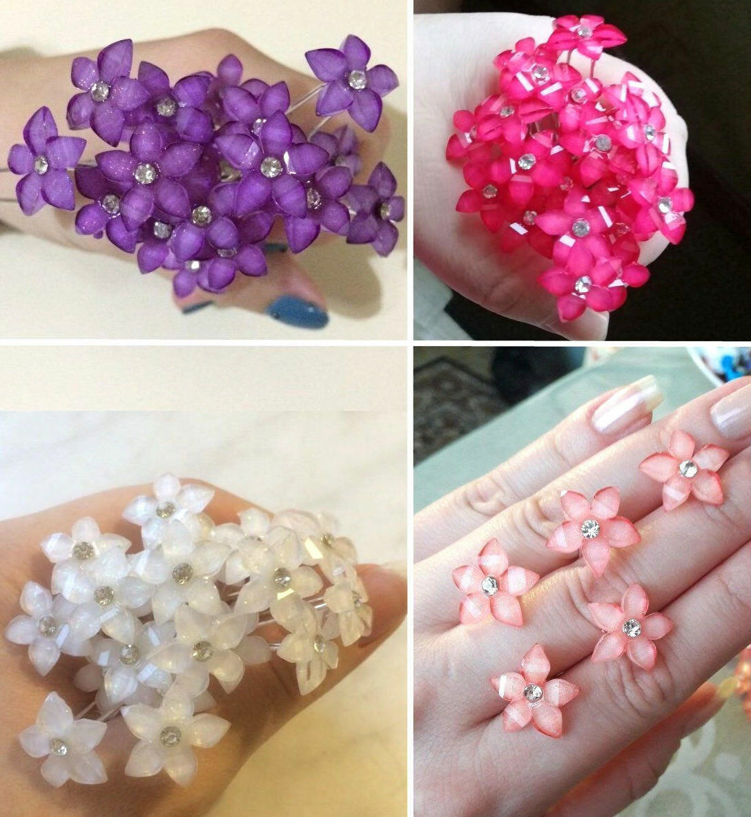 20 / 40pcs - Crystal FLOWER Rhinestone Hair Pins Clips Weddi