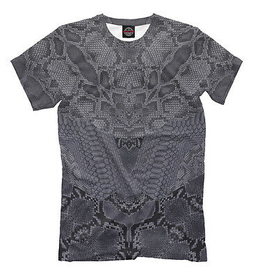 - Snake skin tee - all over printed shirt grey colored python image ornament EDM