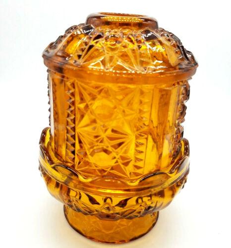 Vintage LE Smith Amber Glass Stars & Bars Fairy Lamp Angel Light