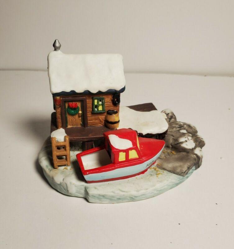 Christmas Victorian Village Towne Boat House 1996  Illuminated House