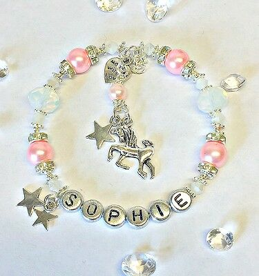 PERSONALISED NAME JEWELLERY : UNICORN CHARM BRACELET PROM / PARTY/ BIRTHDAY GIFT