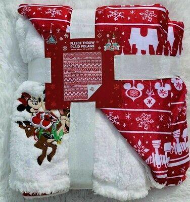 Disney Tienda Vacaciones Cheer Mickey Minnie Forro Polar Manta Navidad BNWT