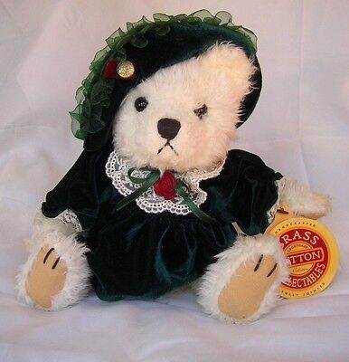 "Brass Button Collectable Bear-Dressed In Green Velvet-Bianca-11"" Bear of Love"