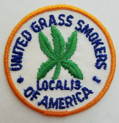 Vtg 70S  United Grass Smokers Of America  Union Patch Marijuana Pot From Usa