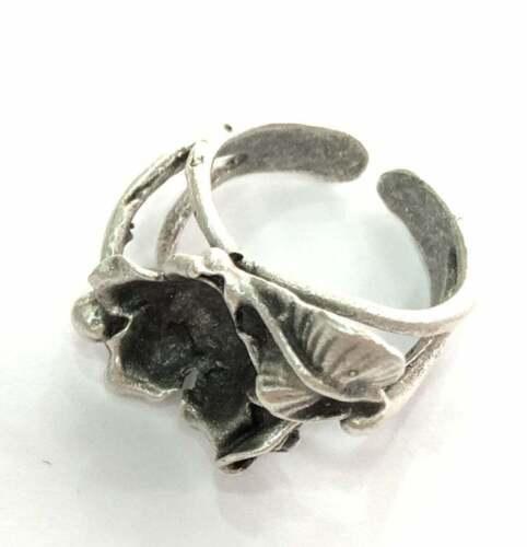 Flower leaf Ring Blank Base Bezel Setting Antique Silver Brass Adjustable G3529