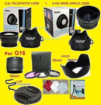 23pcs: 0.43X WIDE 2.2X TELEPHOTO LENS+ADAPTER to-> CANON G16 G 16 POWERSHOT 58mm