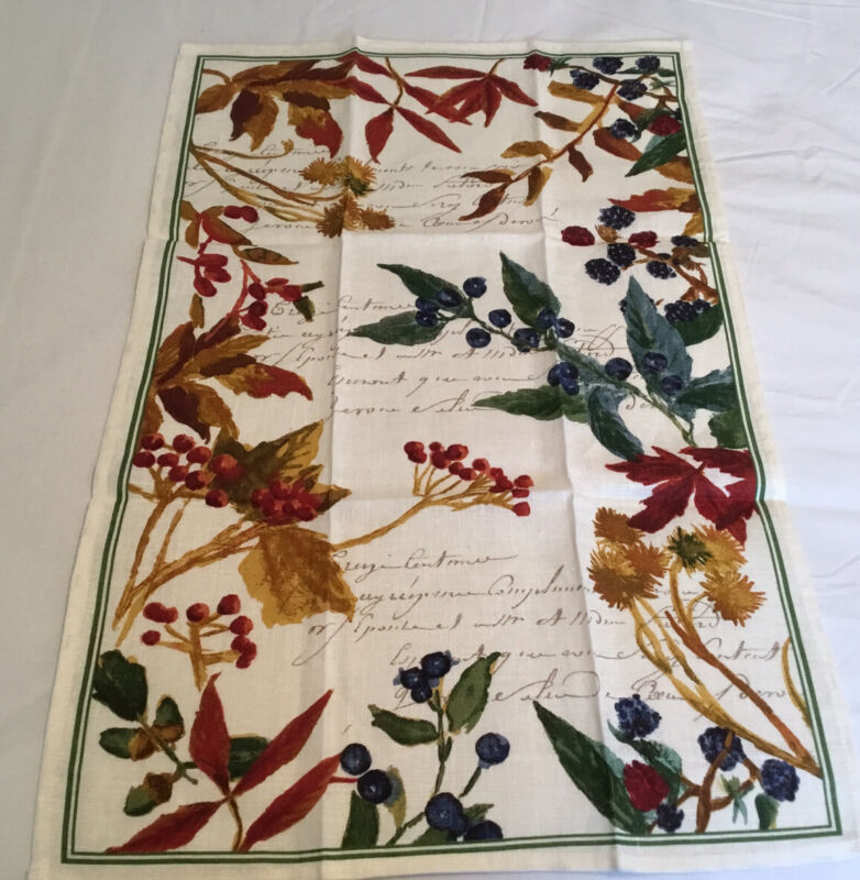 Williams Sonoma 100% Linen Kitchen Towel Botanical Print Made in Italy NWOT